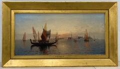 19th C. Karl Eugene Felix View of Venice Italy Original Oil Painting C.1880