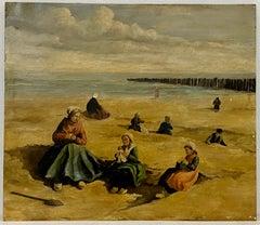 Johannes Evert Hendrik Akkeringa Beach Scene Oil Painting c.1920