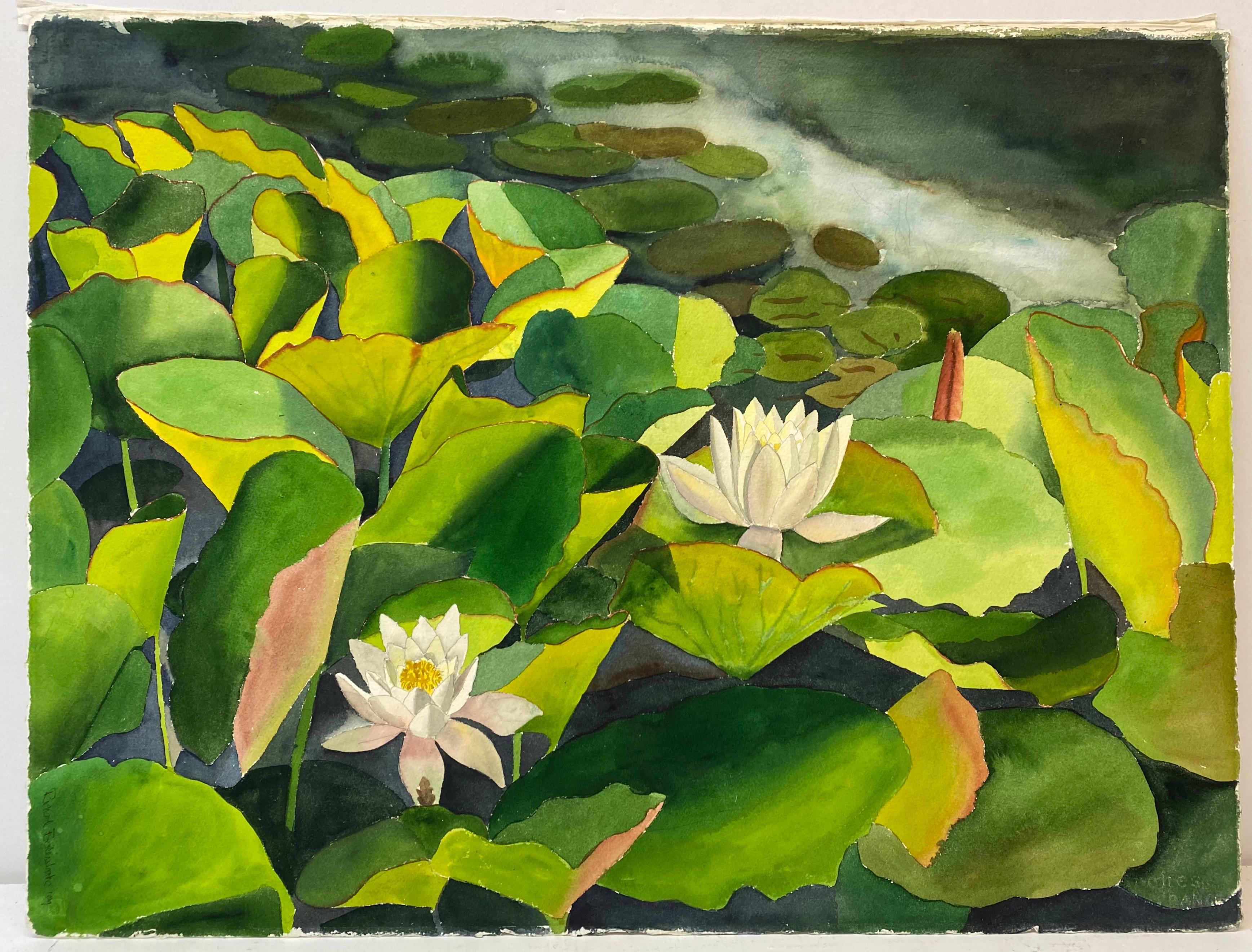 """Richard Bolingbroke """"Lotus Flowers"""" Original Watercolor C.1989"""