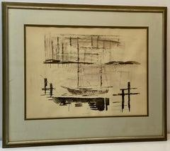 "Alfred Birdsey ""Sailboats at Harbor"" Original Watercolor C.1970"