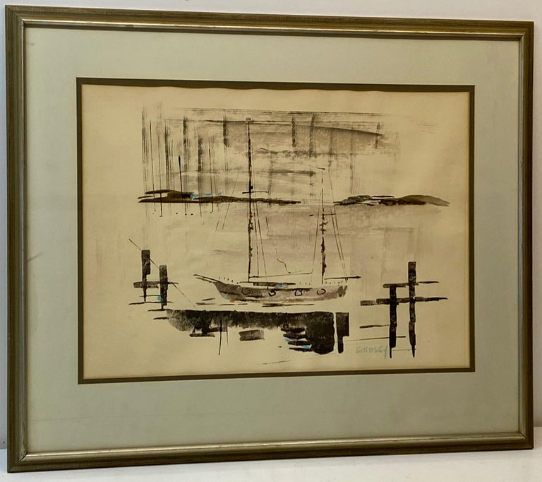"Alfred Birdsey ""Sailboats at Harbor"" Original Watercolor C.1970 - Art by Alfred Birdsey"