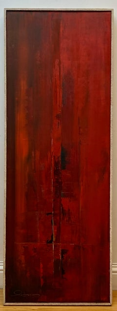 Les Lambson Vintage Abstract Red Landscape Original Painting C.1970