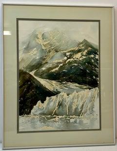 """Harold Booth (American, 20th C.) """"Glacier Bay Original Watercolor C.1970s"""