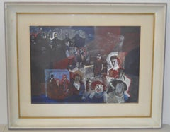 "Thomas Sparacino ""Family"" Mixed Media Painting c.1972"