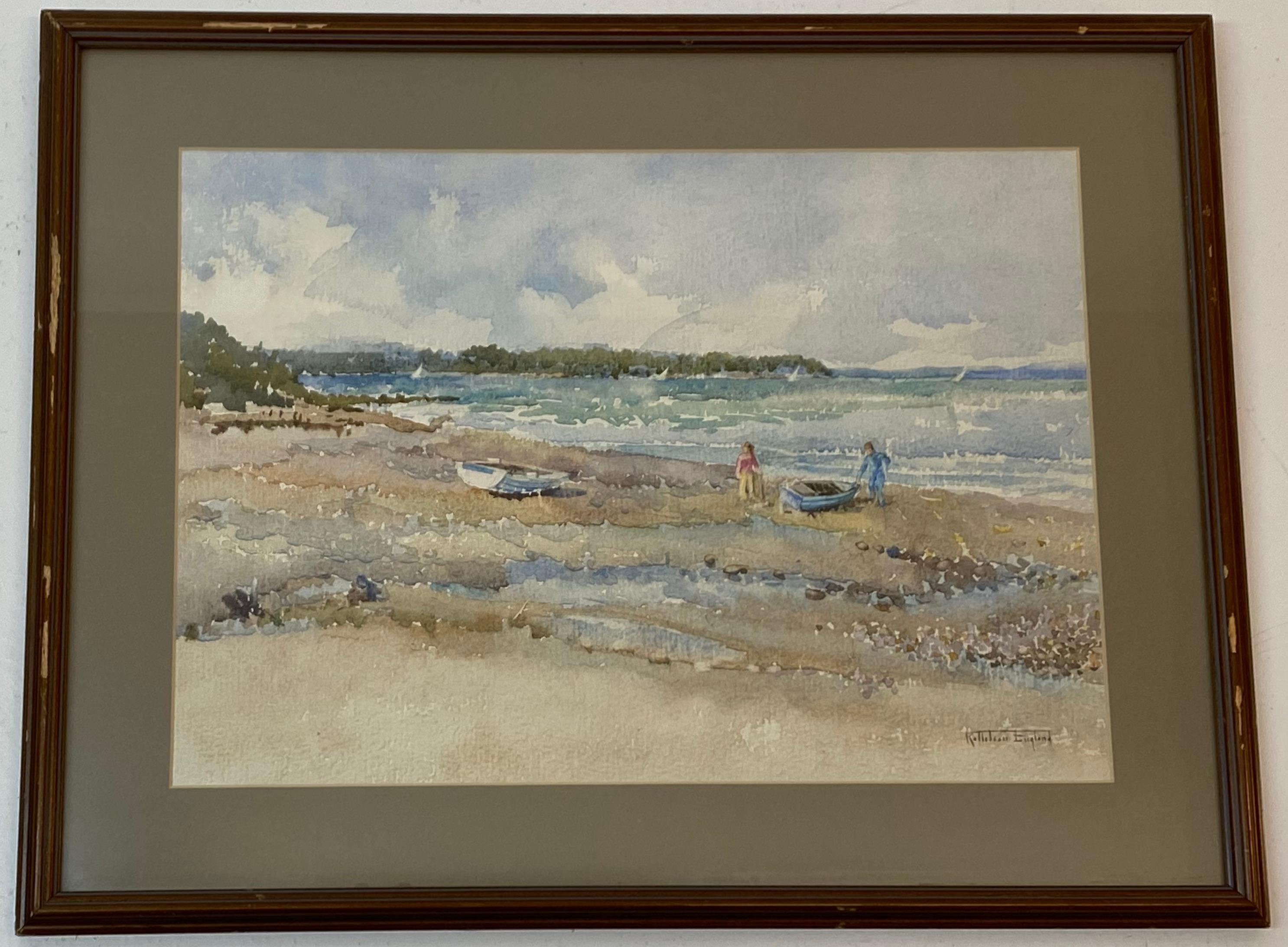 Kathleen Margaret England Low Tide W/ Figures and Boats Original Watercolor