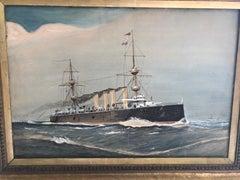 HMS Powerful 1904 Watercolor