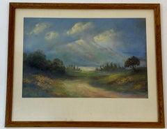 Vintage Pastel Mountain Landscape 20th c.