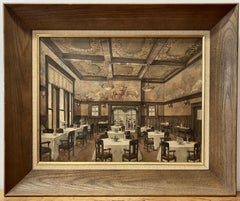 Exceptional Lodge Dining Room Interior Original Watercolor Early 20th C.