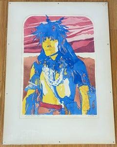 "Native American Pop Art ""Snake Priest - Hopi"" Original Watercolor by D. Collins"
