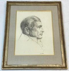 Leon Kroll Original Graphite Male Portrait in Profile C.1940