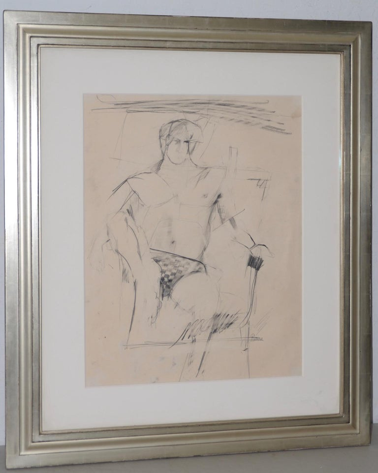 Larry Rivers Modernist Male Figure Original Charcoal Mid 20th C. For Sale 1