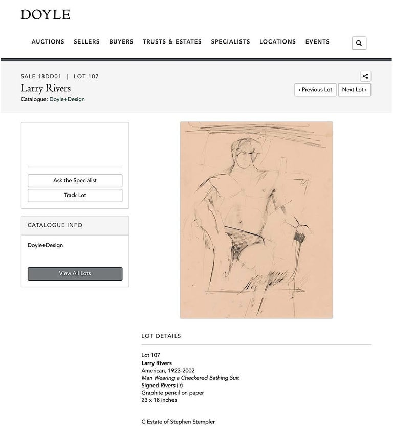 Larry Rivers Modernist Male Figure Original Charcoal Mid 20th C. For Sale 2