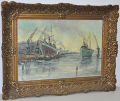 "Bertus de Meij  Original Oil Painting ""Dutch Harbor"" c.1940s"