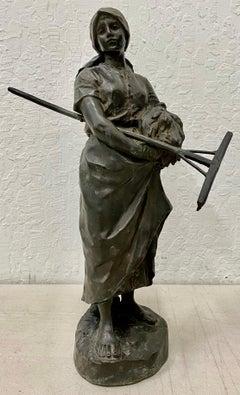 "Hans Muller ""Young Seamstress w/ Sickle & Rake"" Original Bronze 19th c."