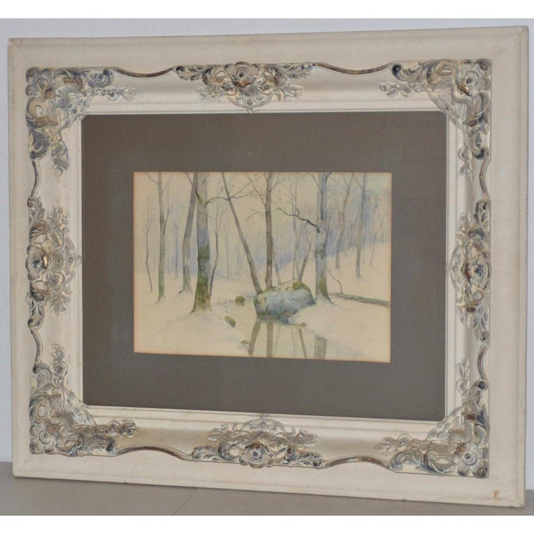 Rufus Way Smith Winter Forest Landscape Watercolor c.1880 - Gray Landscape Art by Rufus Way Smith