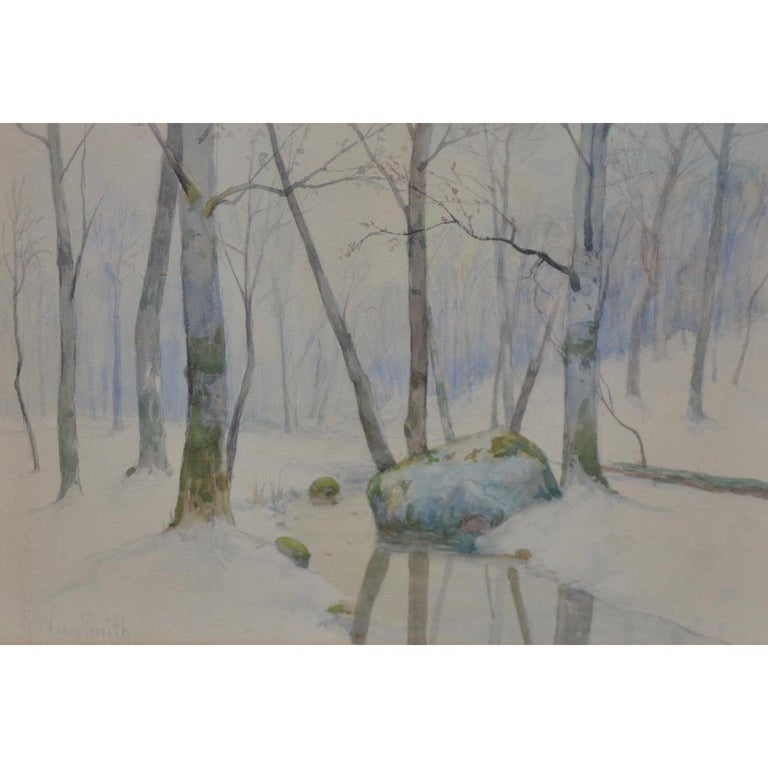 Rufus Way Smith Winter Forest Landscape Watercolor c.1880  Beautiful 19th century watercolor by listed American artist Rufus Way Smith (1840-1900).  Original watercolor on paper. Dimensions 14