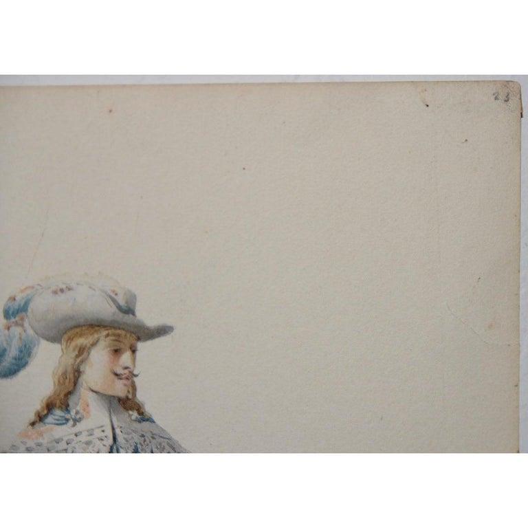 Pierre Eugene LaCoste Opera Costume Watercolor C.1875 - Impressionist Art by Pierre-Eugene Lacoste