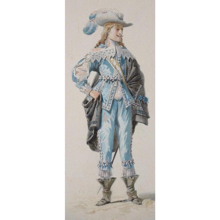 Pierre Eugene LaCoste Opera Costume Watercolor C.1875 For Sale 1