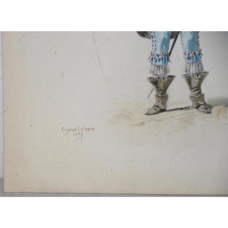 Pierre Eugene LaCoste Opera Costume Watercolor C.1875 For Sale 2