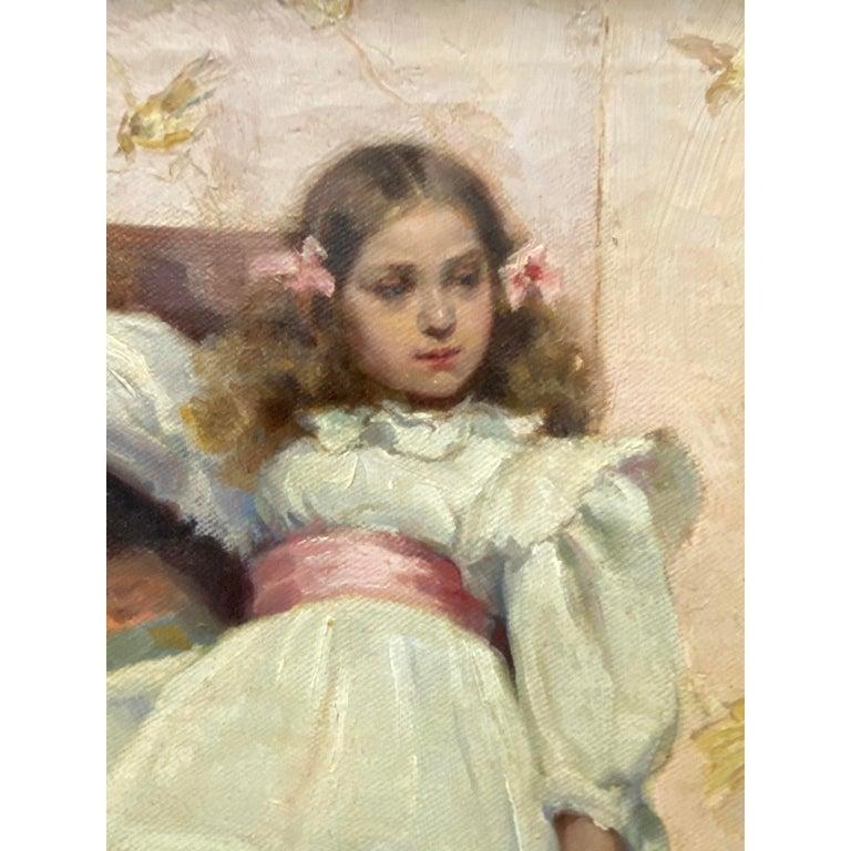 Ellen Starbuck Antique Oil Painting Girl w/ Tambourine 19th c. 1