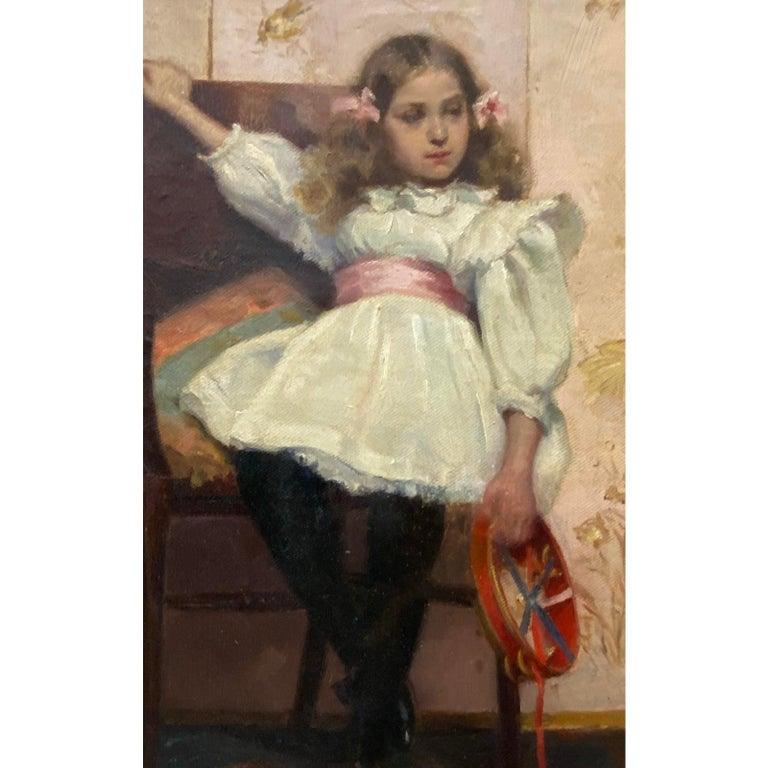 Ellen Starbuck Antique Oil Painting Girl w/ Tambourine 19th c. 2