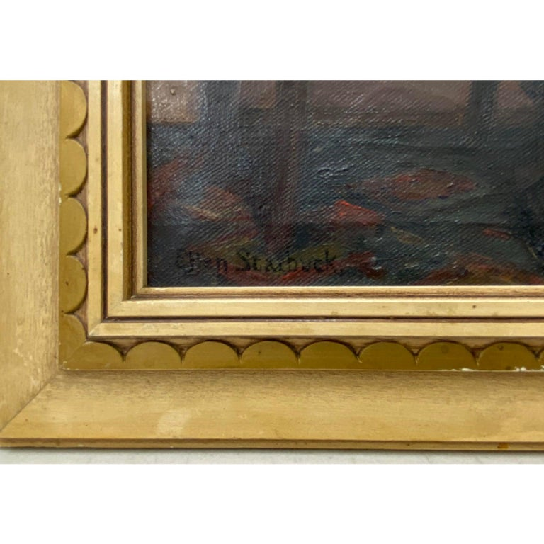 Ellen Starbuck Antique Oil Painting Girl w/ Tambourine 19th c. 3