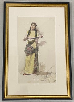 "Francis Luis Mora ""Woman with Guitar"" Original Watercolor Painting c.1920"