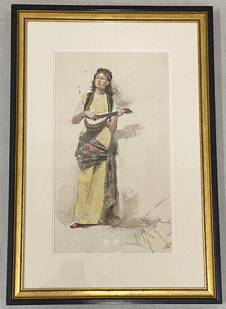 "Francis Luis Mora ""Woman with Guitar"" Original Watercolor Painting c.1920 - Art by Francis Luis Mora"
