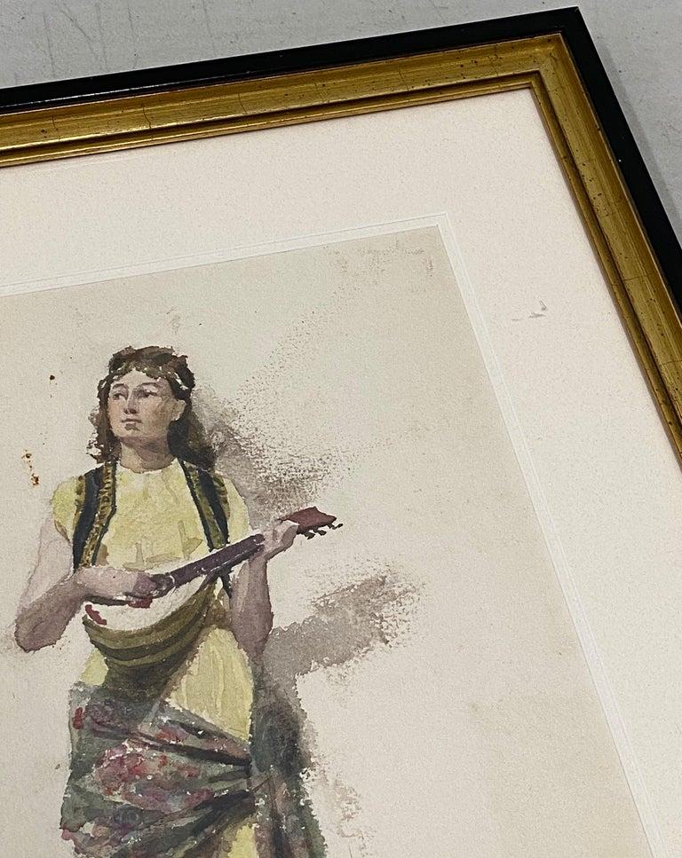 Francis Luis Mora   Original Watercolor Painting c.1920  Woman with a guitar  Dimensions 8