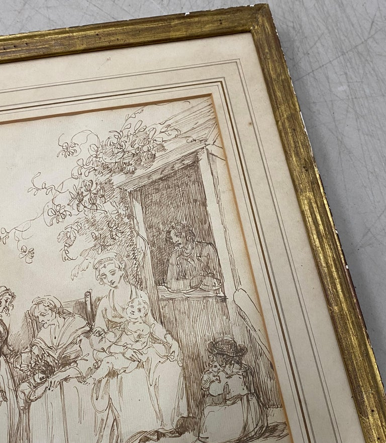 18th to 19th Century Pen and Ink Drawing  A fine pen and ink drawing with old master sensibilities  Three generations of women at home. We love the little child holding a kitten.  The drawing is on hand laid paper  Drawing dimensions 7.5