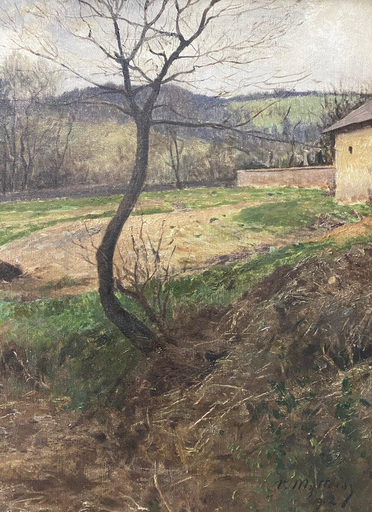 Victor Mytteis Hungarian Country Landscape with Figures c.1902 - Black Landscape Painting by Victor Mytteis