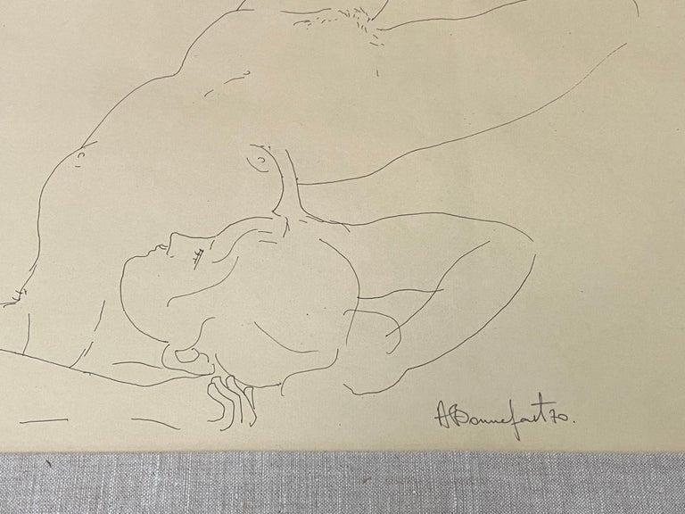 """Alain Bonnefoit """"Figural Nude"""" Pen and Ink Drawing C.1970 - Art by Alain Bonnefoit"""