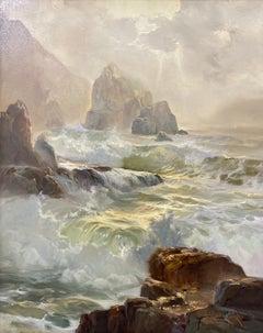 """Vernon Kerr """"Crashing Water"""" Original Oil Painting C.1976"""