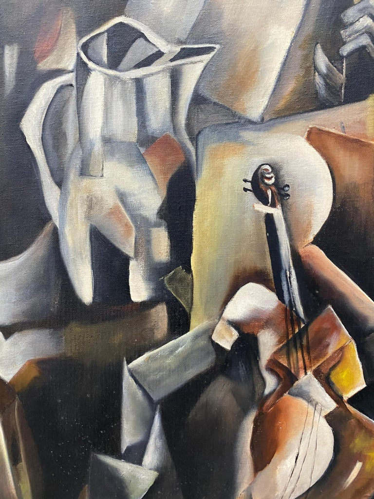 Vintage Cubist Still Life Oil Painting by Al Williams c.1940s to 1950s For Sale 6