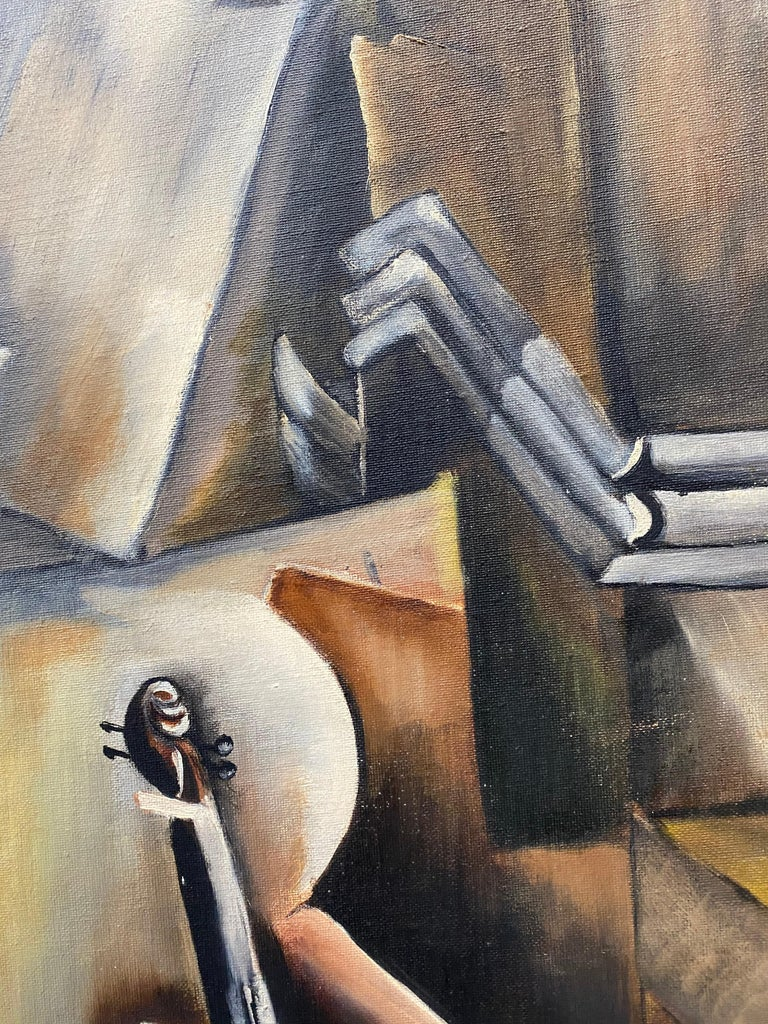 Vintage Cubist Still Life Oil Painting by Al Williams c.1940s to 1950s For Sale 9