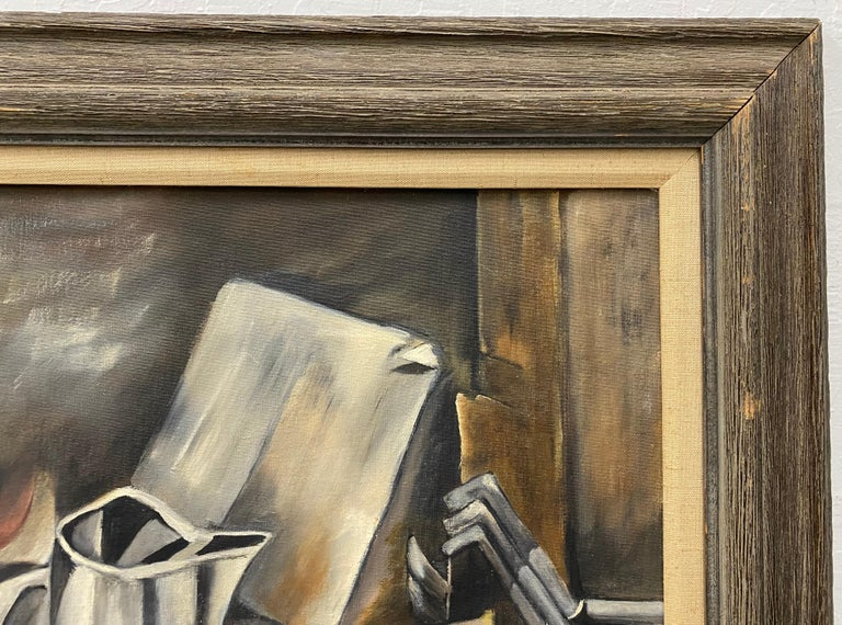 Vintage Cubist Still Life Oil Painting by Al Williams c.1940s to 1950s For Sale 3