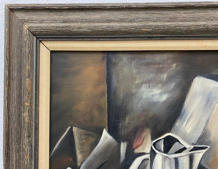 Vintage Cubist Still Life Oil Painting by Al Williams c.1940s to 1950s For Sale 4
