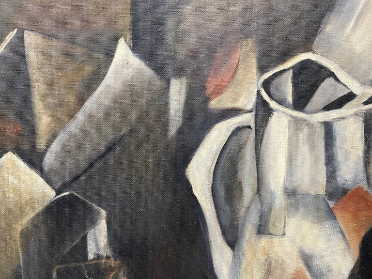 Vintage Cubist Still Life Oil Painting by Al Williams c.1940s to 1950s For Sale 8