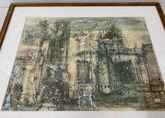 "Daniel Louradour ""Carnival in Venice"" Original Mixed Media Lithograph C.1970"
