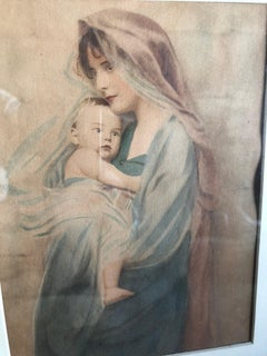 19th Century Watercolor Mother and Child