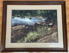 """Vintage """"Huck's Pond"""" Original Watercolor by Tasia C.1976"""