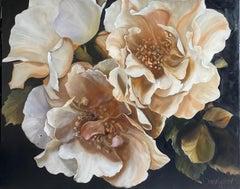 La Vie en Rose, Still life figurative flower oil painting on linen, 122 x 153cm