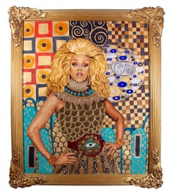 RuPaul in Gold, silk embroidery, beading and paint, framed