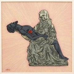 Pieta I, Reverse Glass Painting by South African artist Conrad Botes