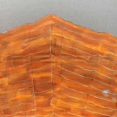 'Orange Mountain' by Maria Jose Benvenuto, unique contemporary painting on linen