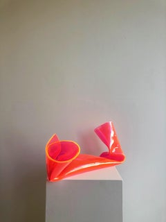 'Fluorescent Pink Cylinder', Colourful contemporary sculpture