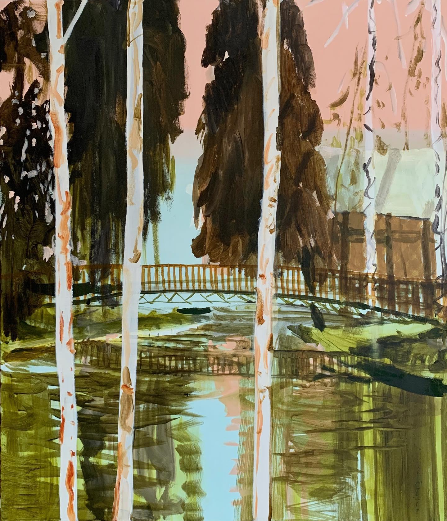 'The Wandering Panda', Contemporary figurative landscape acrylic painting