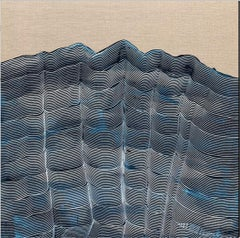'Blue View', Contemporary abstract landscape on linen