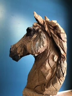 Wood Horse sculpture, carved from oak with a chainsaw, Jürgen Lingl-Rebetez,