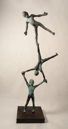 'TRIO II', Unique contemporary bronze sculpture on cortex steel base